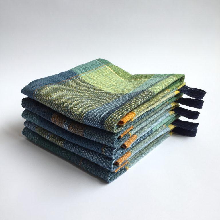 No. 16 Tea towels in plain weave colourblock