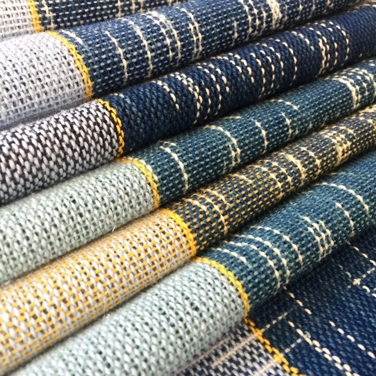 No. 10 Scarf in plain weave indigo ikat colourblock