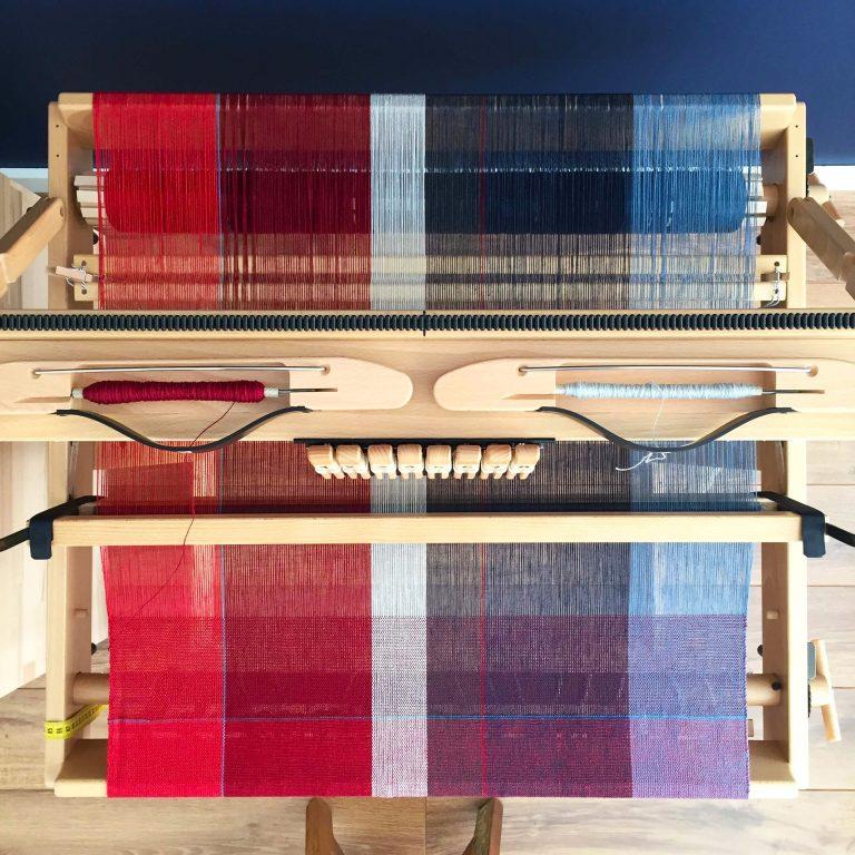 No. 12 Cloth in plain weave colourblock red & blue