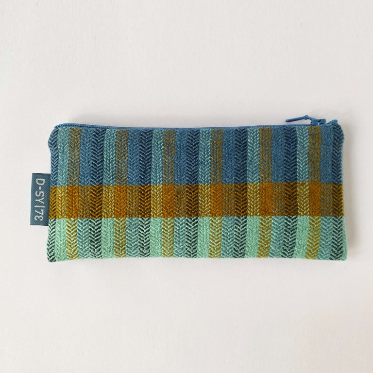 Handwoven zipperbag herringbone twill stripes 04ZB